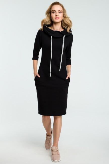 Prosta sukienka dresowa z kołnierzem - czarna