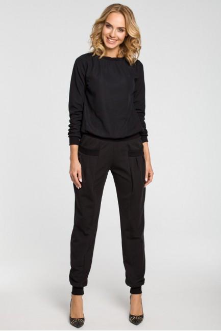 Marszczone spodnie pumpy - czarne