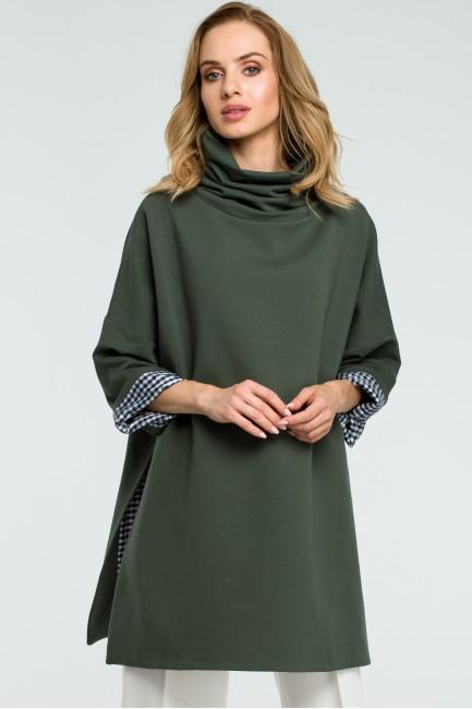Luźna bluza z wysokim kołnierzem - militarno-zielona