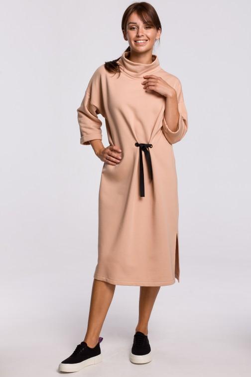 CM5415 Sukienka midi z ozdobnym wiązaniem z przodu - beżowa OUTLET