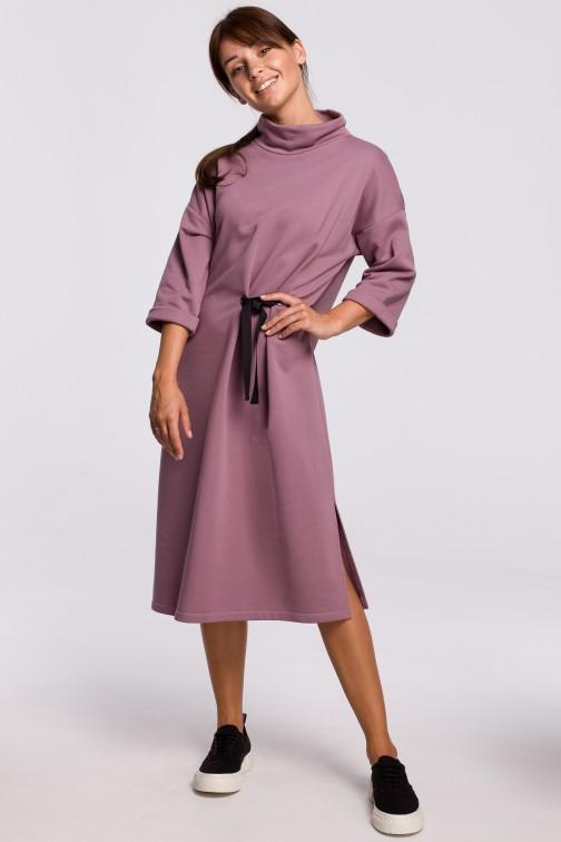 CM5415 Sukienka midi z ozdobnym wiązaniem z przodu - wrzosowa OUTLET
