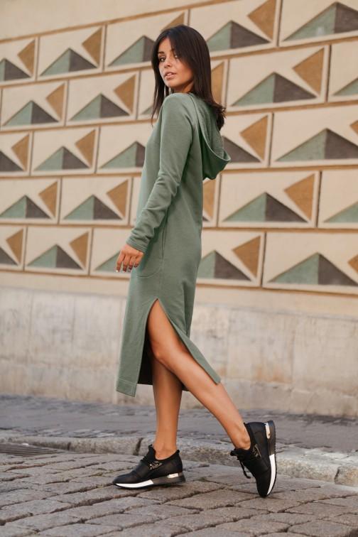 CM4603 Sukienka maxi z kapturem - khaki OUTLET
