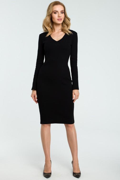 CM3807 Ołówkowa sukienka z dekoltem w serek - czarna