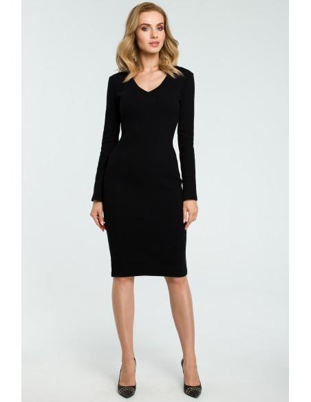 Ołówkowa sukienka z dekoltem w serek - czarna