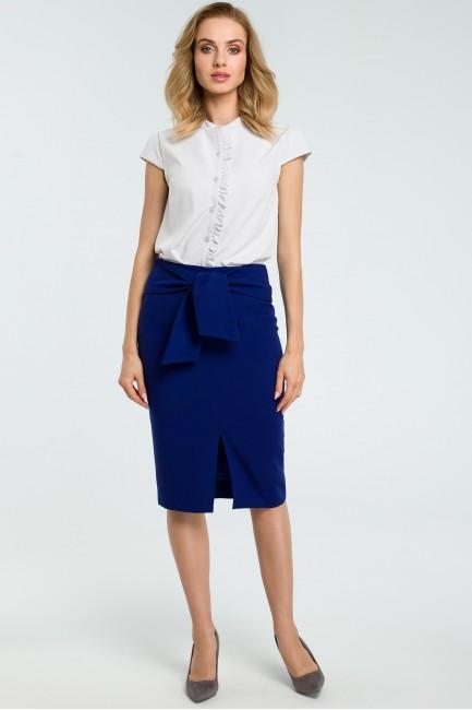 Ołówkowa spódniczka z wiązanym paskiem - chabrowa