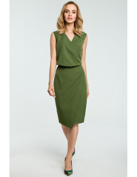 Biurowa sukienka z zakładką - zielona