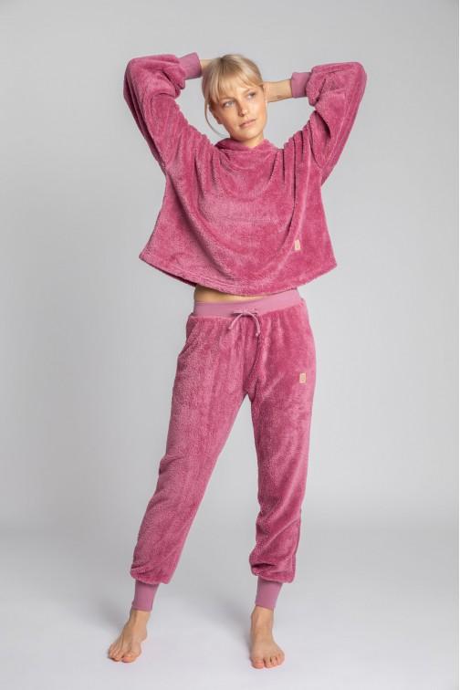 CM5698 Pluszowe spodnie joggery - wrzosowe