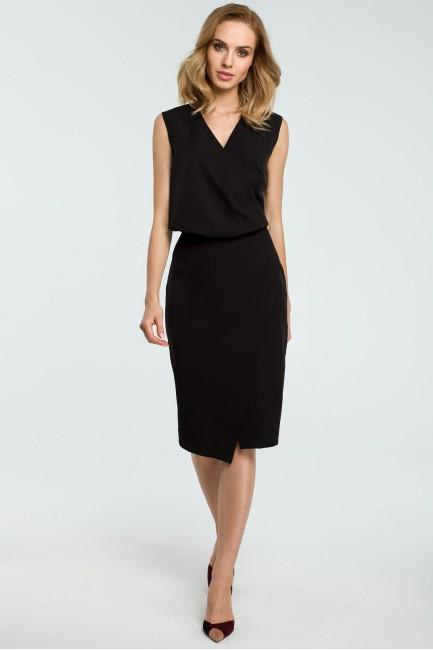 Biurowa sukienka z zakładką - czarna