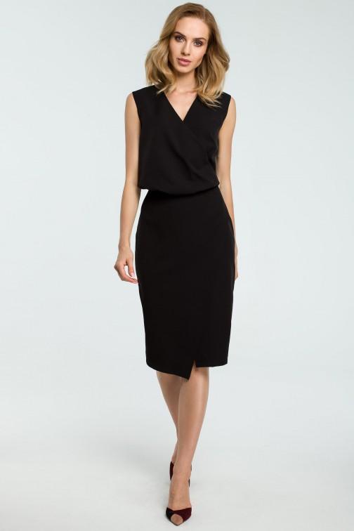 CM3809 Biurowa sukienka z zakładką - czarna