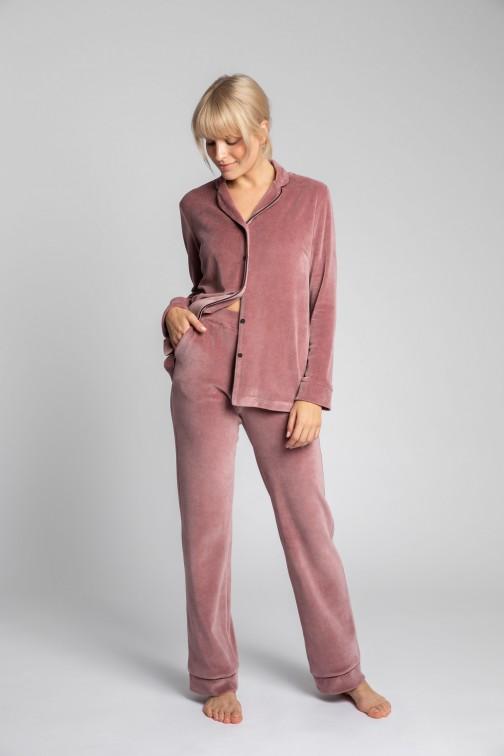 CM5702 Welurowe spodnie od piżamy - brudny róż