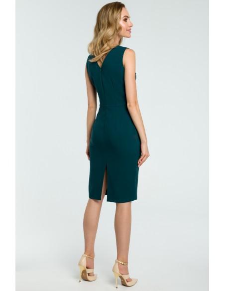 Elegancka sukienka ołówkowa z rozcięciem - zielona