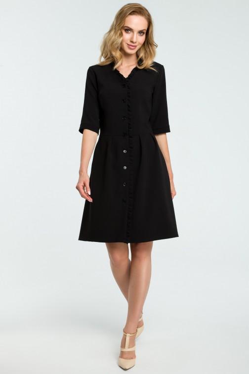 CM3813 Sukienka zapinana na guziki z falbanką - czarna