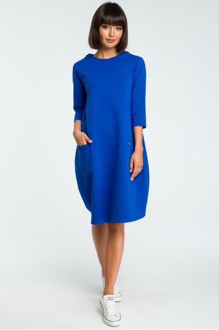 Kobieca sukienka bombka - chabrowa