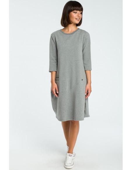 Kobieca sukienka bombka - szara