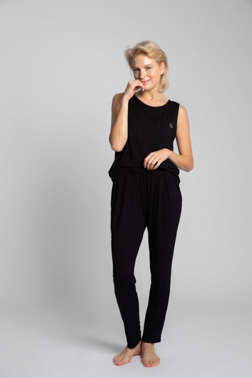 CM5719 Spodnie do spania z wąskimi nogawkami - czarne