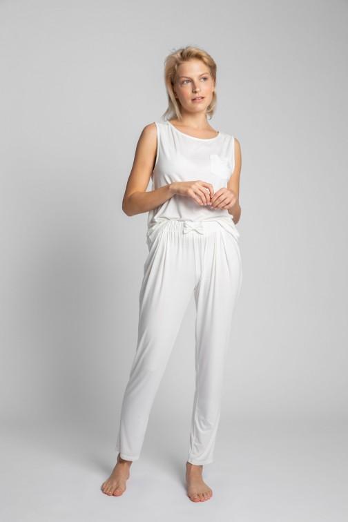 CM5719 Spodnie do spania z wąskimi nogawkami - ecru
