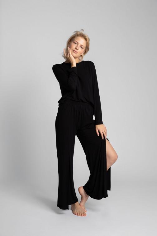 CM5720 Spodnie z rozcięciami na nogawkach - czarne