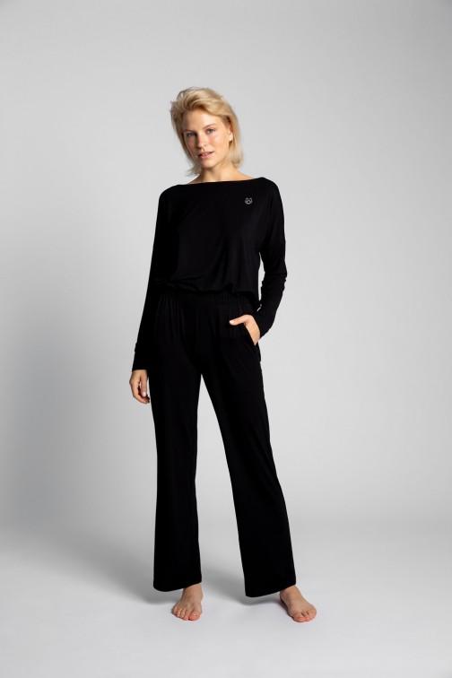 CM5722 Spodnie do spania z szerokimi nogawkami - czarne