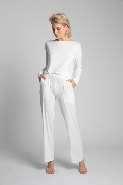 CM5722 Spodnie do spania z szerokimi nogawkami - ecru