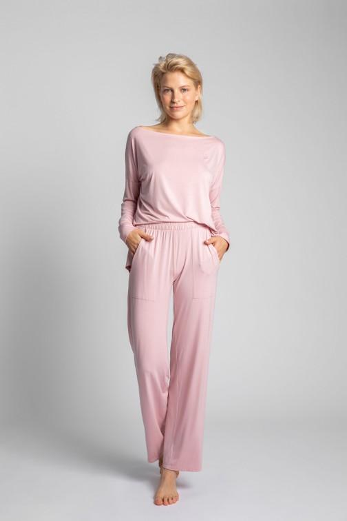 CM5722 Spodnie do spania z szerokimi nogawkami - różowe