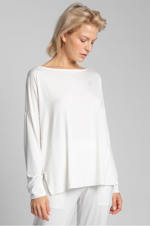 CM5723 Wiskozowa bluzka z rozcięciami - ecru