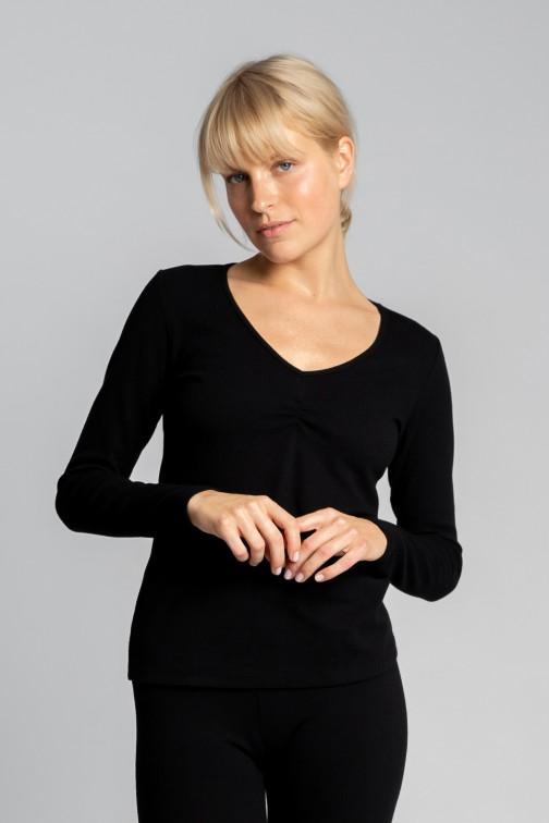 CM5728 Bawełniana bluzka z długimi rękawami - czarna