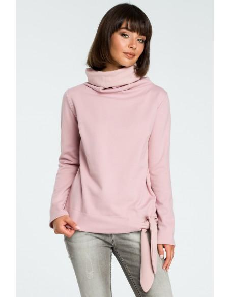 Stylowa bluza z wiązaniem - pudrowa