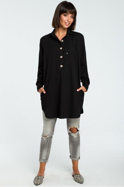 Tunika koszulowa z kołnierzykiem - czarna