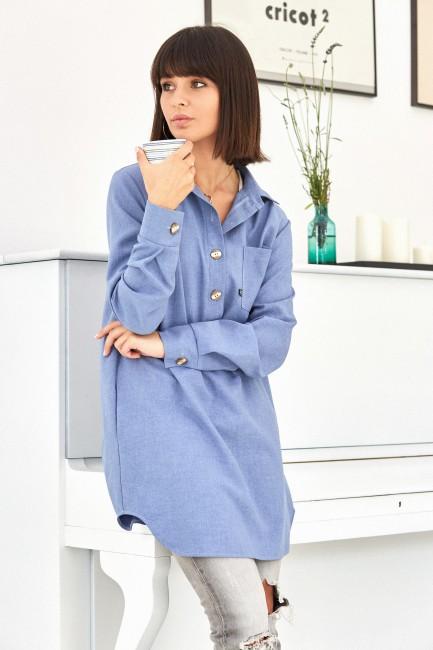 Tunika koszulowa z kołnierzykiem - niebieska