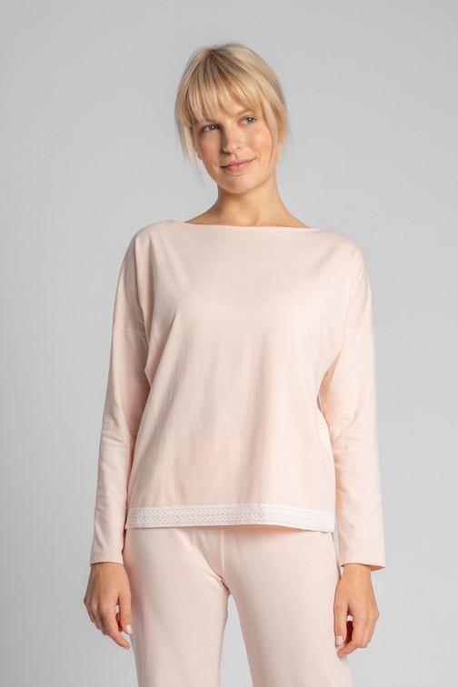 CM5734 Bluzka od piżamy z koronkowym brzegiem - brzoskwiniowa