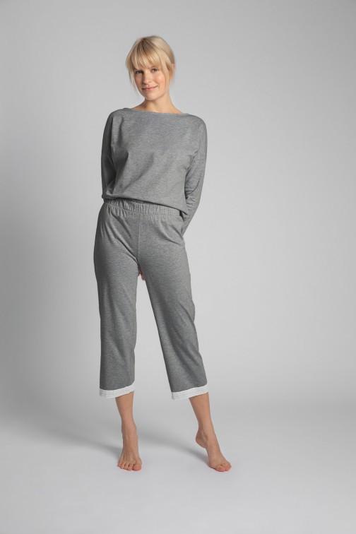 CM5735 Spodnie z koronkowym brzegiem - szare