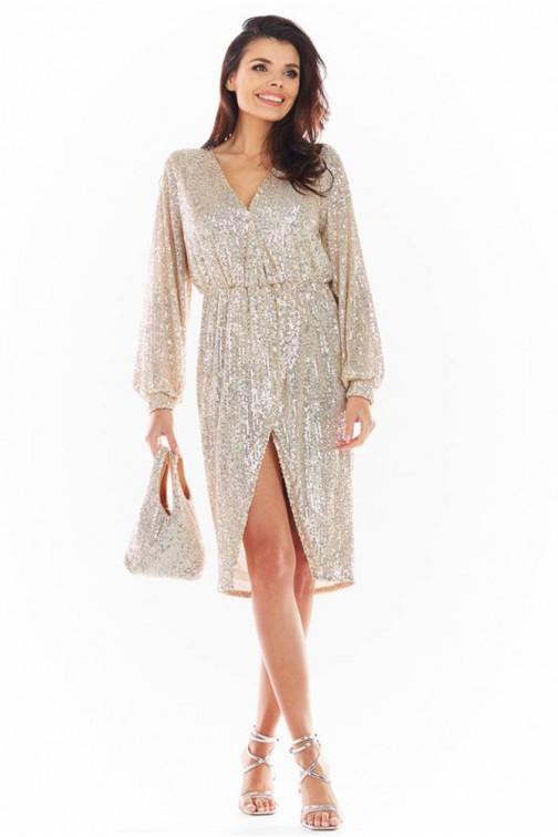 CM5739 Wieczorowa sukienka w cekiny - beżowa