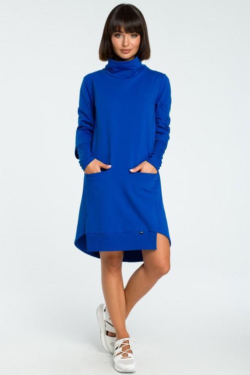 CM3818 Sukienka z golfem i ściągaczem - chabrowa