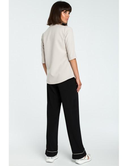 Kobieca bluzka koszulowa - beżowa