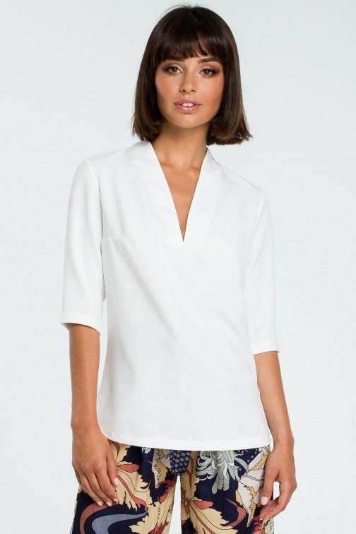 CM3819 Kobieca bluzka koszulowa - biała