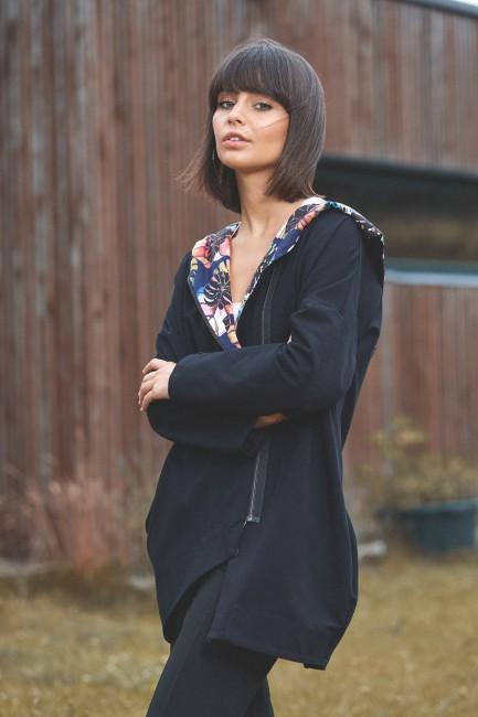 Zasuwana bluza z kapturem - czarna