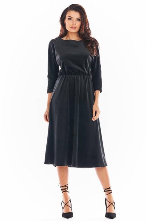 CM5747 Welurowa sukienka midi z rękawem 3/4 - czarna