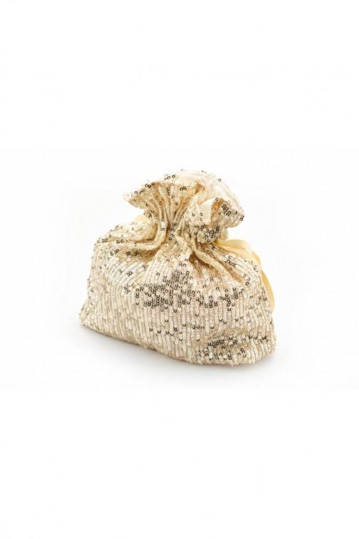 CM5761 Stylowa cekinowa torebka - beżowa