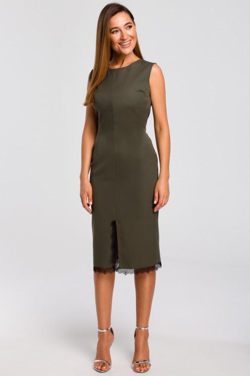 CM4792 Sukienka z rozcięciem na dole - khaki OUTLET