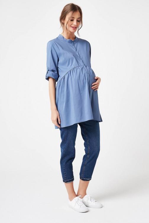 CM5781 Rozkloszowana koszula ciążowa - jeansowa