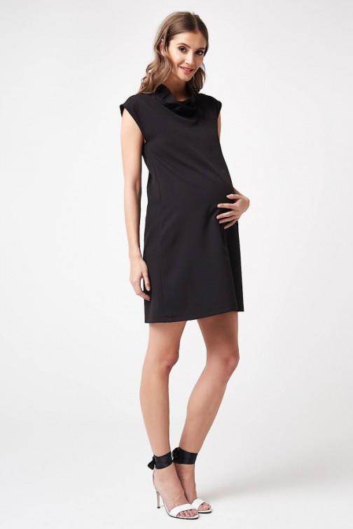 CM5784 Sukienka ciążowa z dekoltem w falbanki - czarna