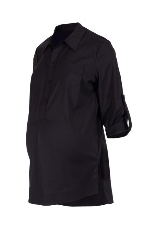 CM5785 Koszula ciążowa z podwiniętymi rękawami - czarna