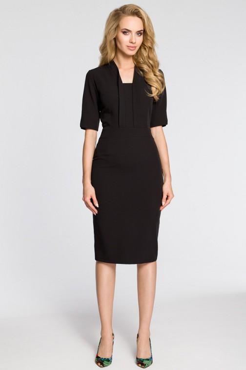 CM3041 Sukienka ołówkowa z dekoltem szalowym - czarna