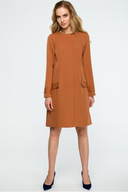 CM3835 Gładka sukienka z...