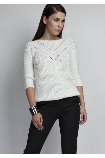 Ażurowy modelujący sweter - ecru