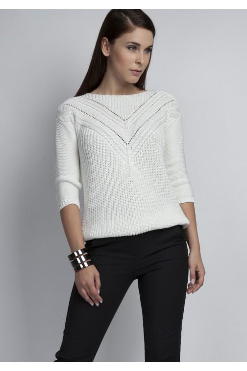 CM3074 Ażurowy modelujący sweter - ecru