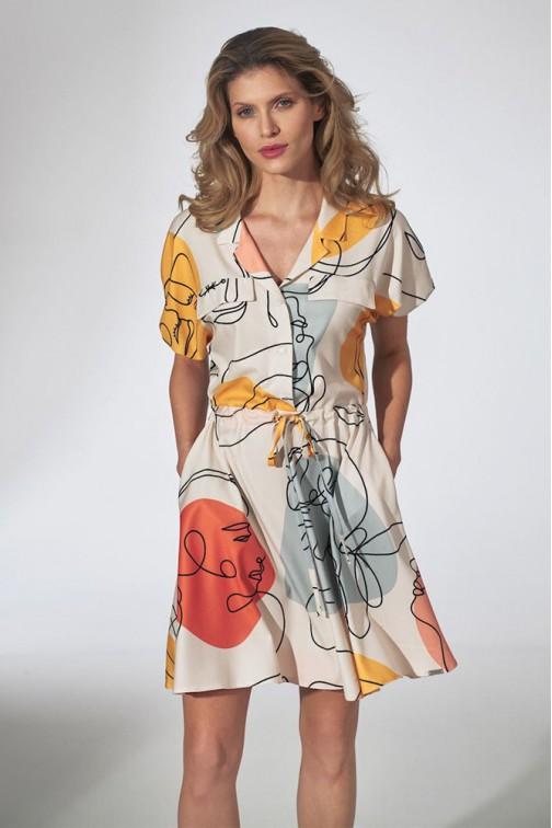 CM5807 Sukienka kimono z kołnierzykiem - wzór 123