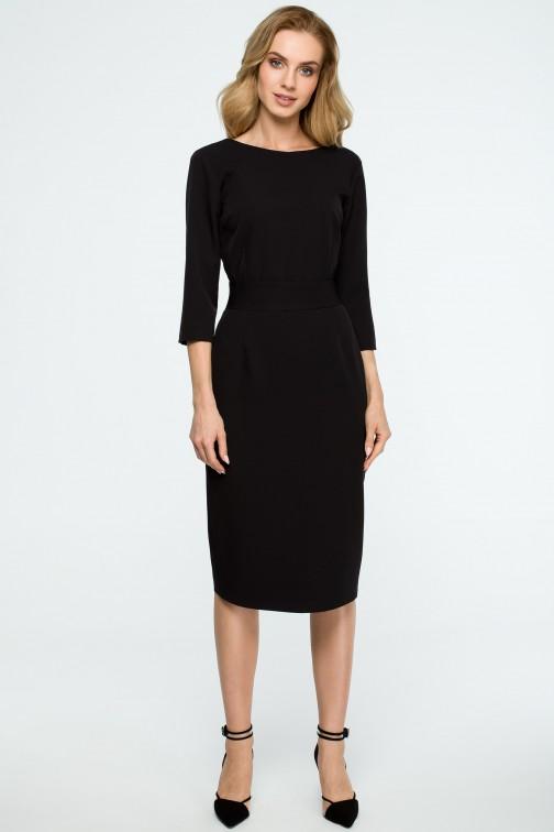 CM3837 Gładka sukienka ołówkowa z paskiem - czarna