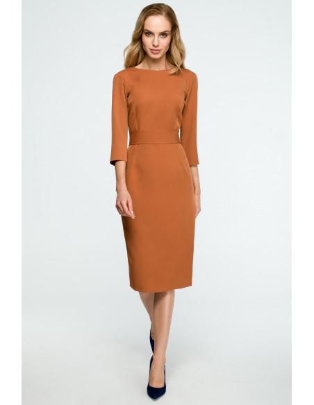 Gładka sukienka ołówkowa z paskiem - ruda