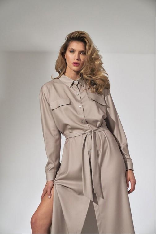 CM5808 Koszulowa sukienka maxi - beżowa